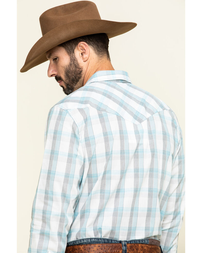 Gibson Men's Big Buck Down Plaid Long Sleeve Western Shirt , White, hi-res