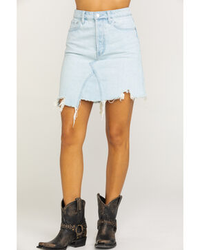 Free People Women's Light Wash Going Rogue Mini Skirt, Blue, hi-res