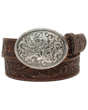 Nocona Women's Belle Forche Floral Embossed Belt, Brown, hi-res