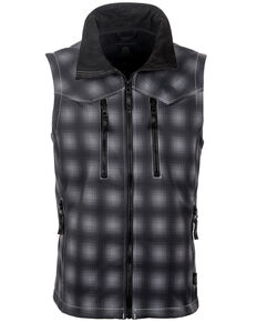 STS Ranchwear Men's Black Plaid Perf Vest , Black, hi-res