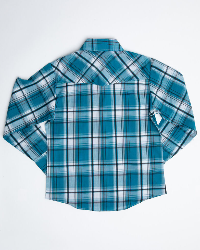 Ely Cattleman Boys' Assorted Multi Textured Woven Plaid Long Sleeve Western Shirt , Multi, hi-res