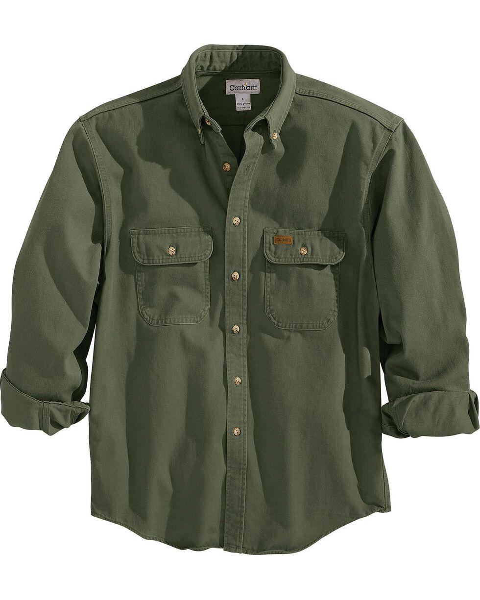 Carhartt Men's Sandstone Twill Regular Work Shirt, Moss, hi-res
