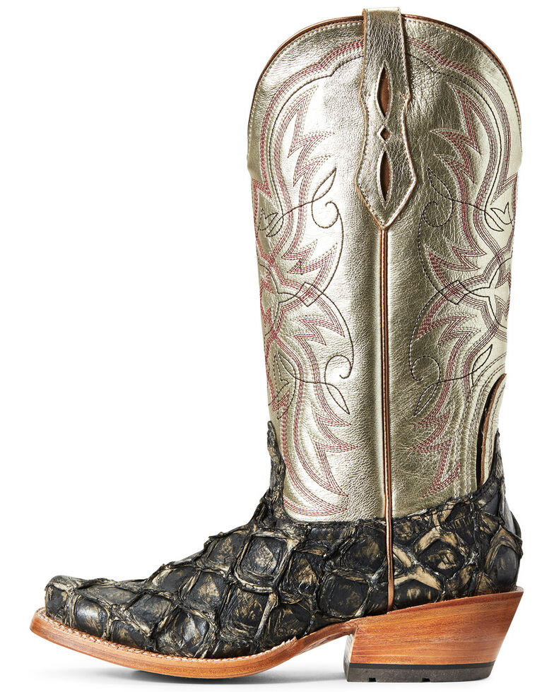 Ariat Women's Derby Exotic Pirarucu Western Boot - Wide Square , Brown, hi-res