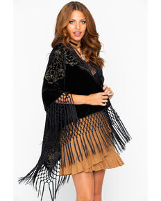 Cowgirl Up Women's Velvet Embroidered Fringe Kimono , Black, hi-res