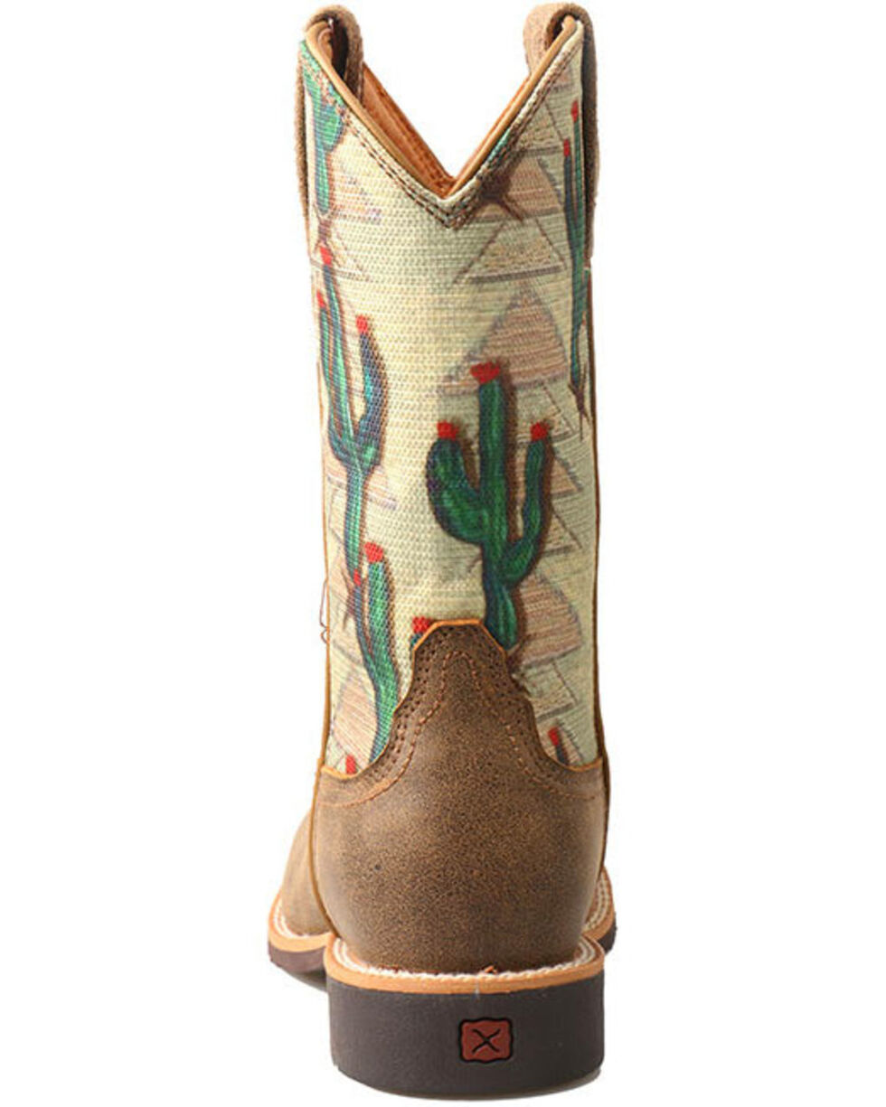 Twisted X Youth Boys' Cactus Canvas Western Boots - Wide Square Toe, Brown, hi-res