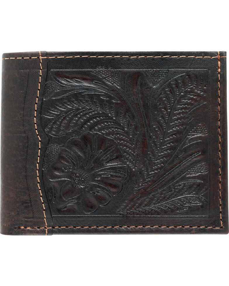 American West Bi-Fold Tooled Wallet, Chocolate, hi-res
