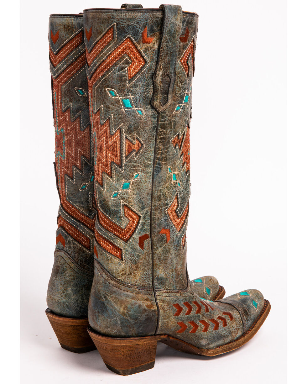 Corral Women's Multi-Color Jute Inlay Western Boots, Grey, hi-res