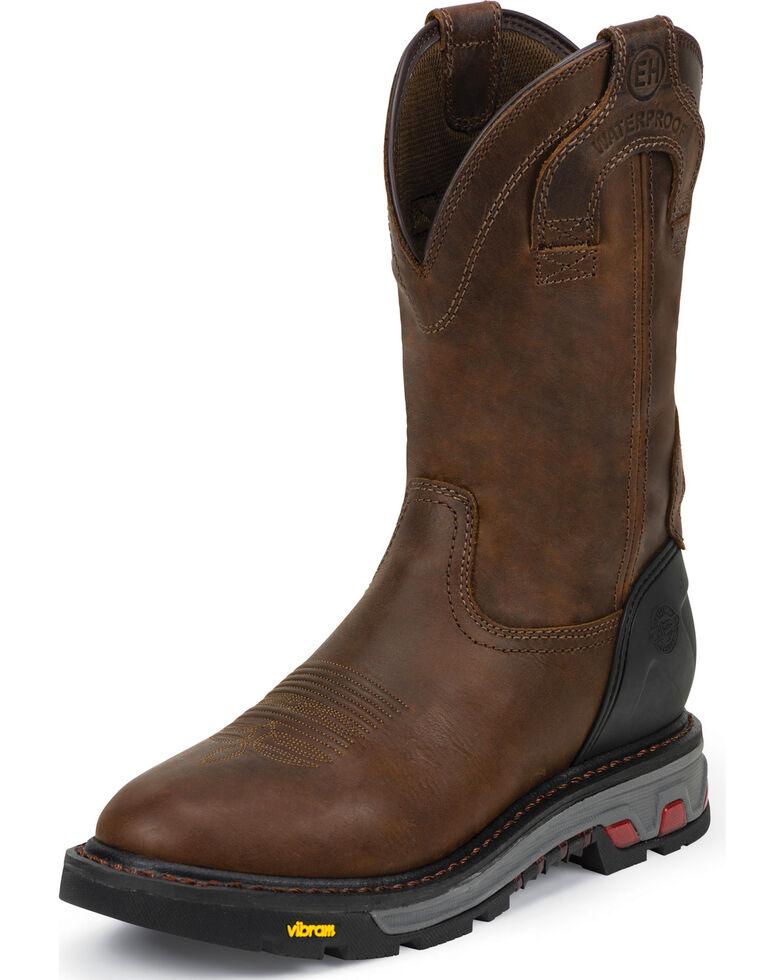 Justin Men's Waterproof Wyoming Work Boots, Brown, hi-res