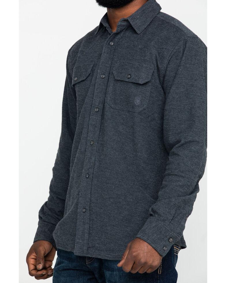 Ariat Men's Kasper Retro Solid Long Sleeve Western Flannel Shirt , Charcoal, hi-res