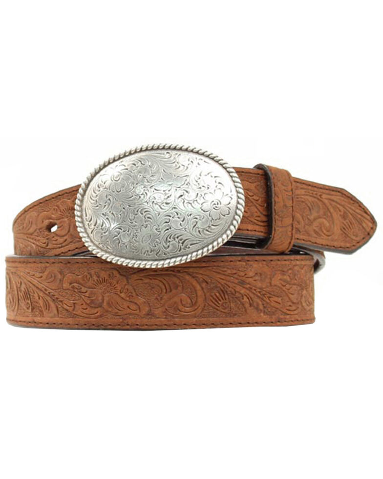 Nocona Floral Embossed Oval Tooled Buckle Leather Belt, Med Brown, hi-res