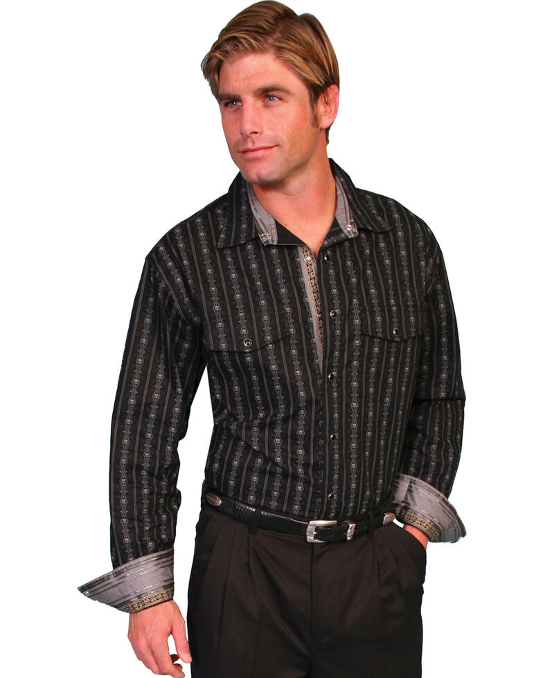 Scully Men's Signature Series Striped Long Sleeve Shirt, Black, hi-res