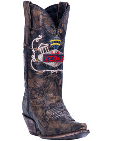 Dan Post Women's Las Vegas Western Boots - Snip Toe, Chocolate, hi-res