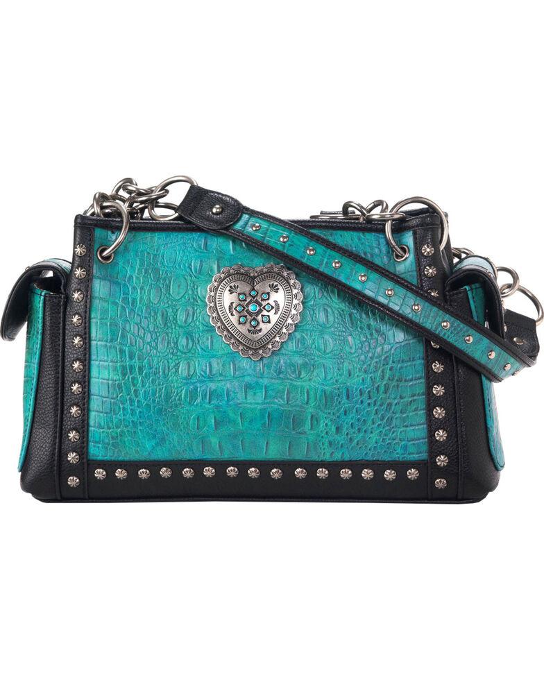 Blazin Ro Women S Ginger Satchel Heart Purse Turquoise Hi Res