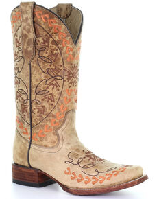 Circle G by Corral Women's Straw Embroidered Western Boots - Square Toe, Multi, hi-res