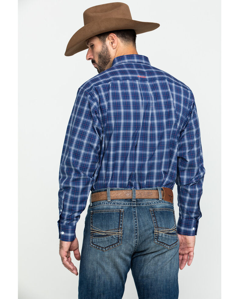 Ariat Men's Gadson Plaid Long Sleeve Western Shirt - Tall , Blue, hi-res
