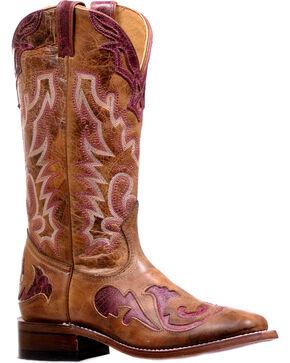 Boulet Women's Faraon Magenta Stockman Cowgirl Boots - Square Toe, Tan, hi-res