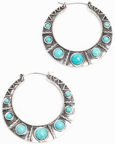 Shyanne Women's Hidden Treasure Mini Turquoise Hoop Earrings, Silver, hi-res