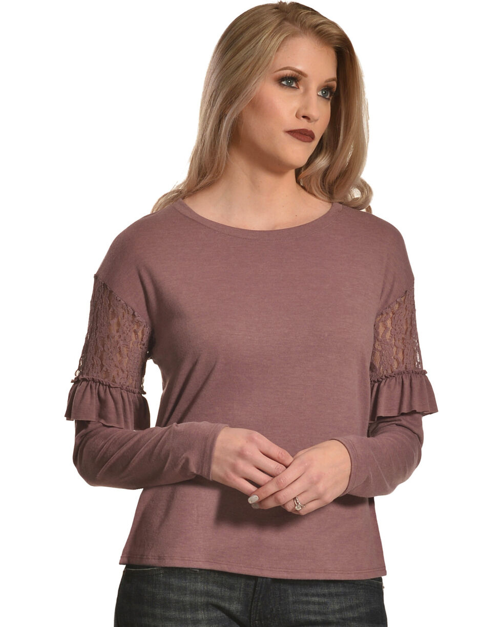 Eyeshadow Women's Mauve Ruffle Arm Blouse , Mauve, hi-res