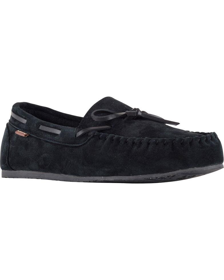 Lamo Footwear Men's Aiden Suede Lace Moccasins - Moc Toe, Black, hi-res