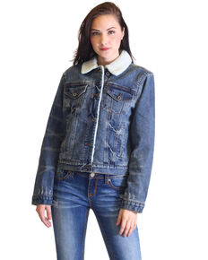 Grace In LA Women's Distressed Hem Sherpa Lined Denim Jacket , Indigo, hi-res
