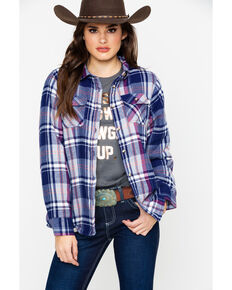 Ely Cattleman Plaid Sherpa Lined Long Sleeve Western Flannel Shirt , Navy, hi-res