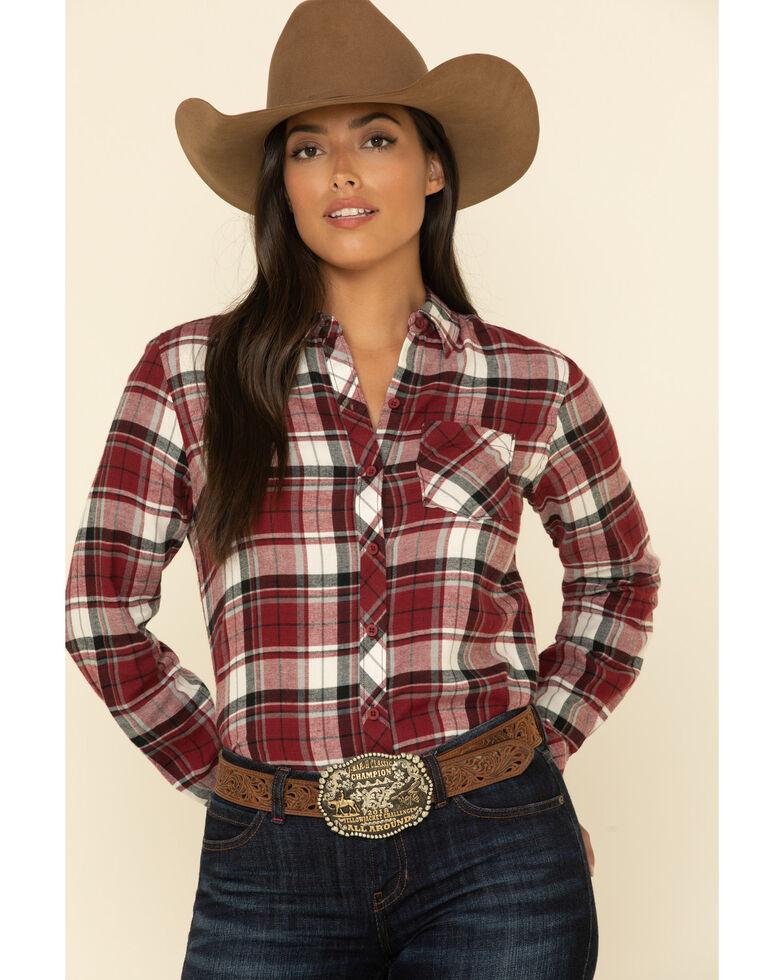 North River Women's Biking Plaid Long Sleeve Western Flannel Shirt , Red, hi-res