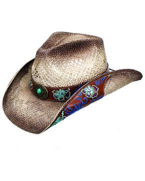 Peter Grimm Women's Floral Brooklyn Straw Western Hat, Beige/khaki, hi-res
