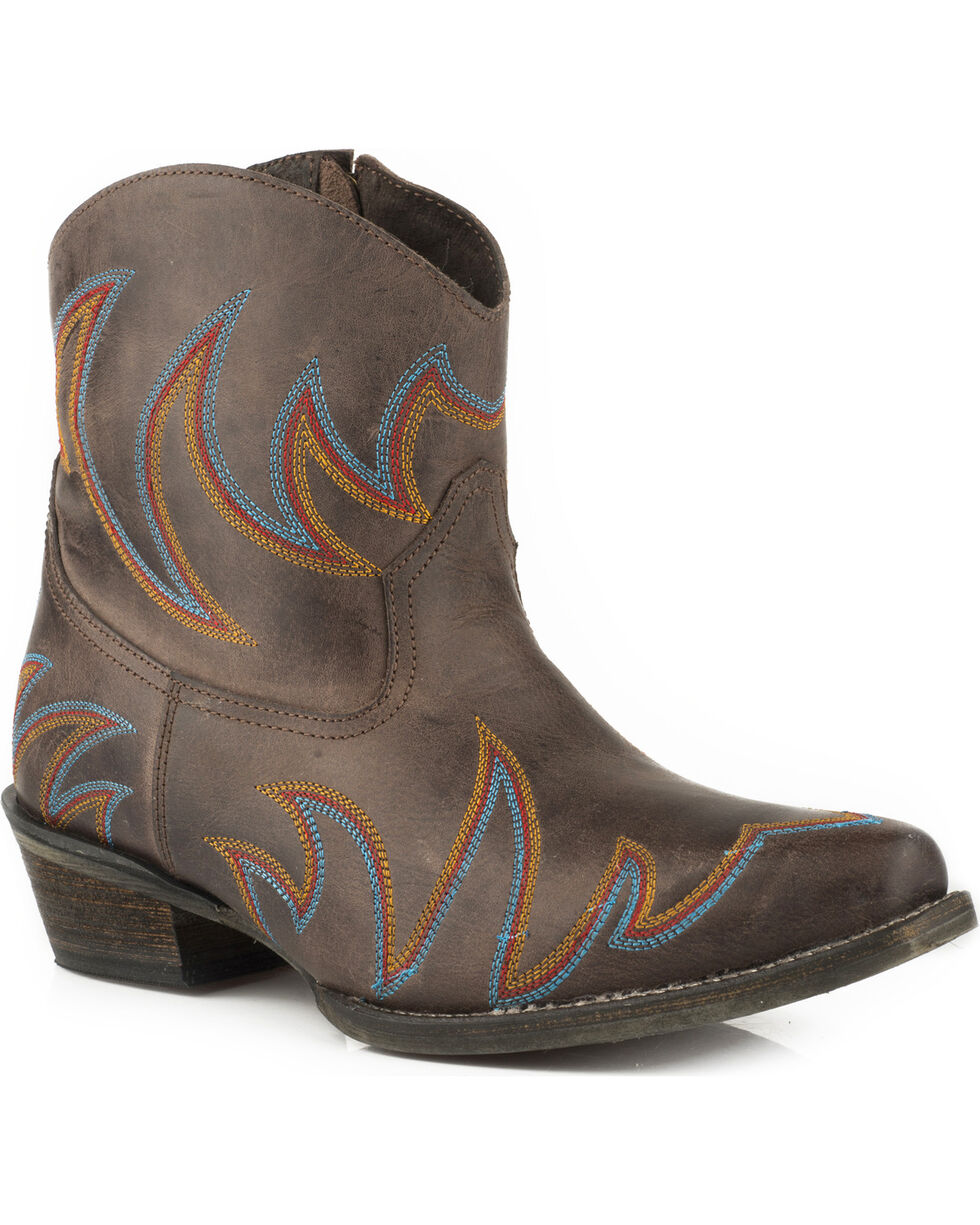 Roper Women's Phoenix Brown Embroidered Western Booties - Snip Toe, Brown, hi-res