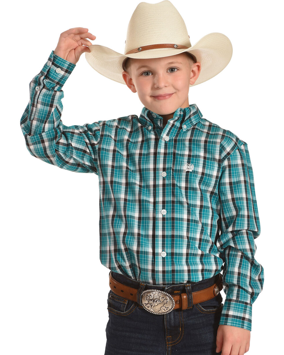Cinch Boys' Teal Plaid Western Shirt , Teal, hi-res