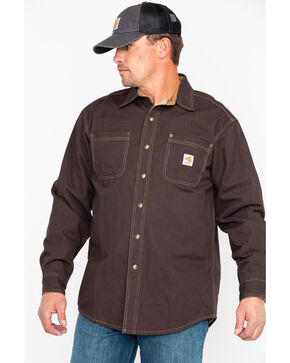 Carhartt Flame Resistant Canvas Shirt Jacket, Dark Brown, hi-res