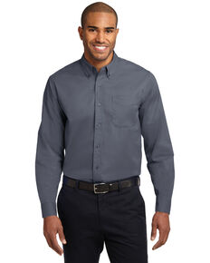 Port Authority Men's Solid Wrinkle Free Long Sleeve Work Shirt - Tall , Steel, hi-res
