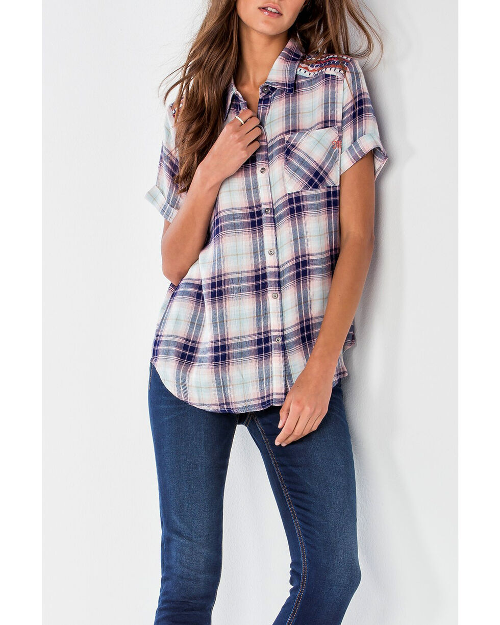 Miss Me Women's Blue No Complaints Plaid Shirt , Blue, hi-res