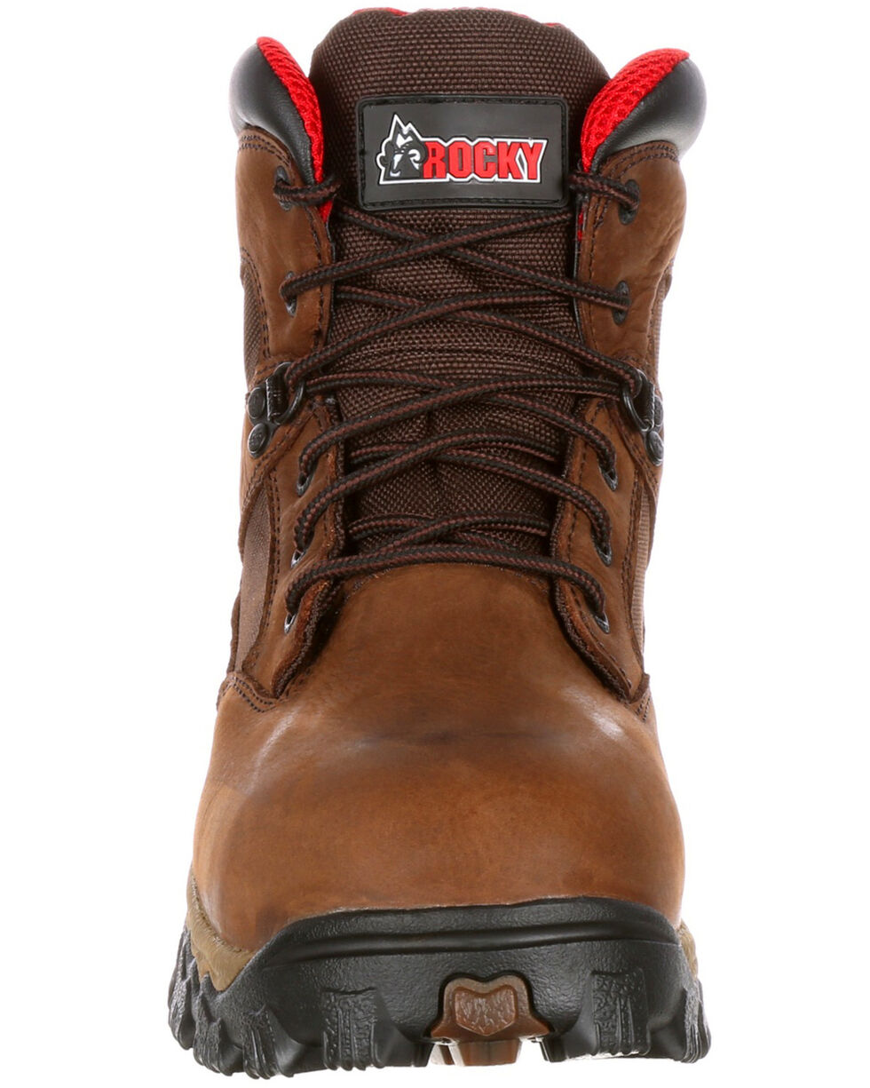 "Rocky Men's Alphaforce Waterproof 6"" Work Boots - Safety Toe, Brown, hi-res"