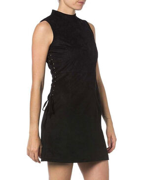 Miss Me Women's Lace-up High Neck Dress, Black, hi-res