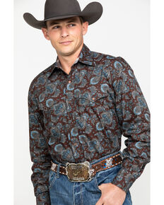 Stetson Men's Rail Large Paisley Print Long Sleeve Western Shirt , Brown, hi-res