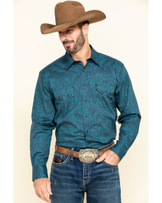 Cinch Men's Modern Fit Navy Tonal Paisley Print Long Sleeve Western Shirt , Navy, hi-res