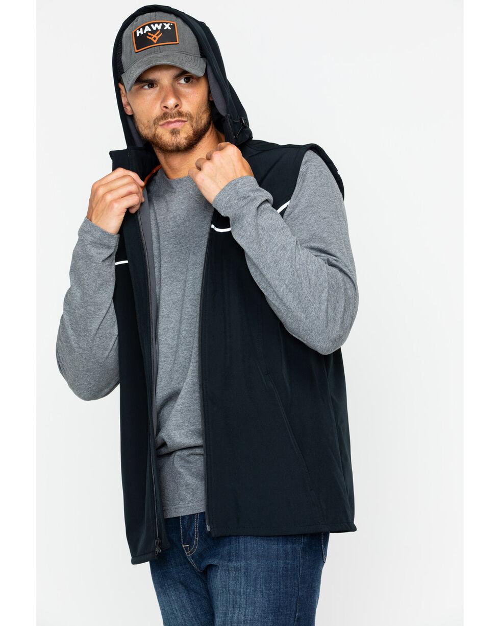 Hawx® Men's Hooded Soft-Shell Work Vest , Black, hi-res