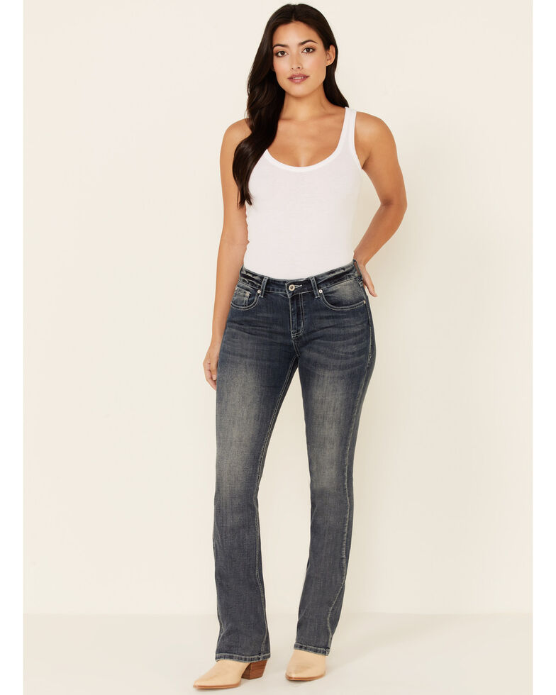 Grace in LA Women's Curved Lines Bootcut Jeans, Medium Blue, hi-res