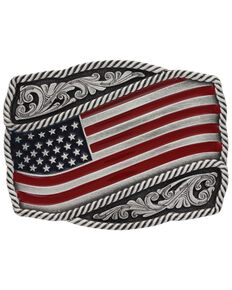 Montana Silversmiths Men's Classic Painted Waving Flag Buckle , Silver, hi-res