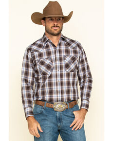 Ely Cattleman Men's Brown Med Plaid Long Sleeve Western Shirt , Brown, hi-res