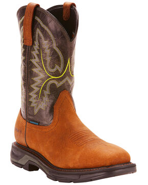 Ariat Men's Brown Workhog XT H20 Boots - Wide Square Toe, Dark Brown, hi-res