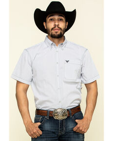 Cowboy Hardware Men's White Little Zig Geo Print Short Sleeve Western Shirt , White, hi-res