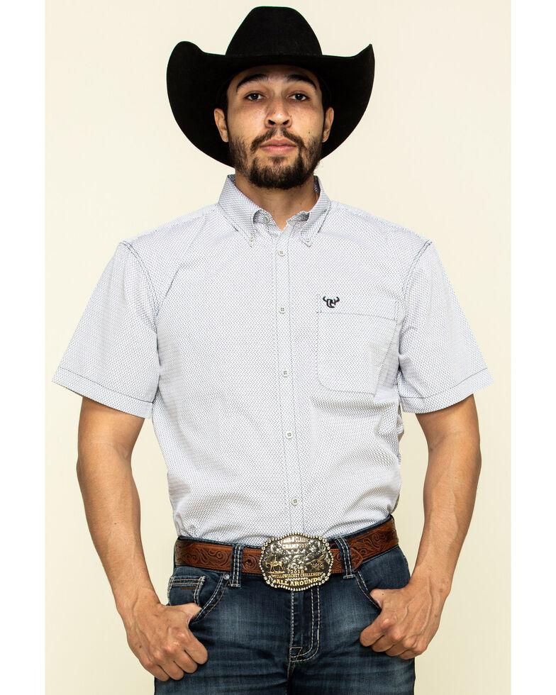 Cowboy Hardware Men's White Little Zig Geo Print Short Sleeve Western Shirt , White, hi-res