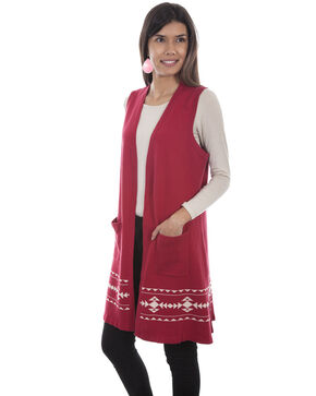 Honey Creek by Scully Women's Red Sweater Indian Headdress Duster, Red, hi-res
