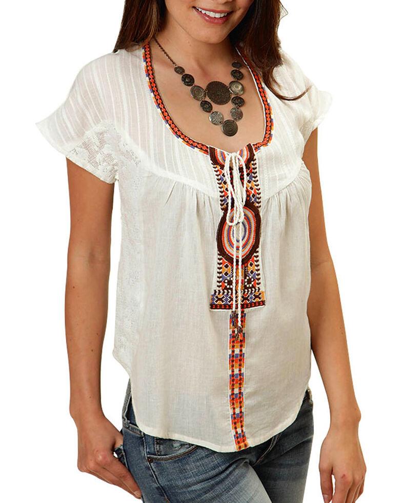 Roper Women's Peasant Blouse, White, hi-res