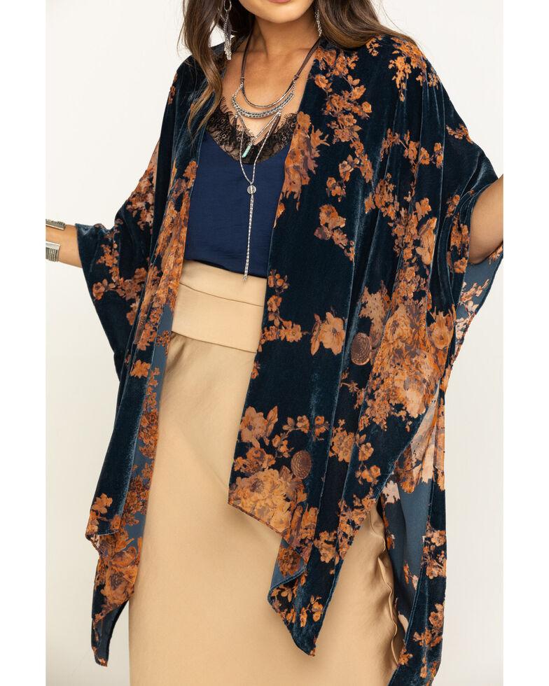Angie Women's Blue Floral Velvet Burnout Kimono, Blue, hi-res