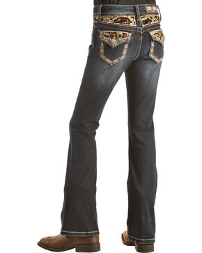 Grace in LA Girls' Black and Gold Embellished Flap Pocket Bootcut Jeans  , Denim, hi-res