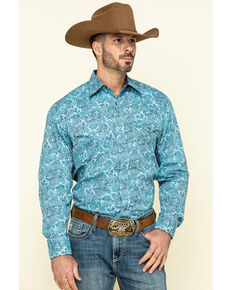 Stetson Men's Blue Paisley Print Long Sleeve Western Shirt , Blue, hi-res