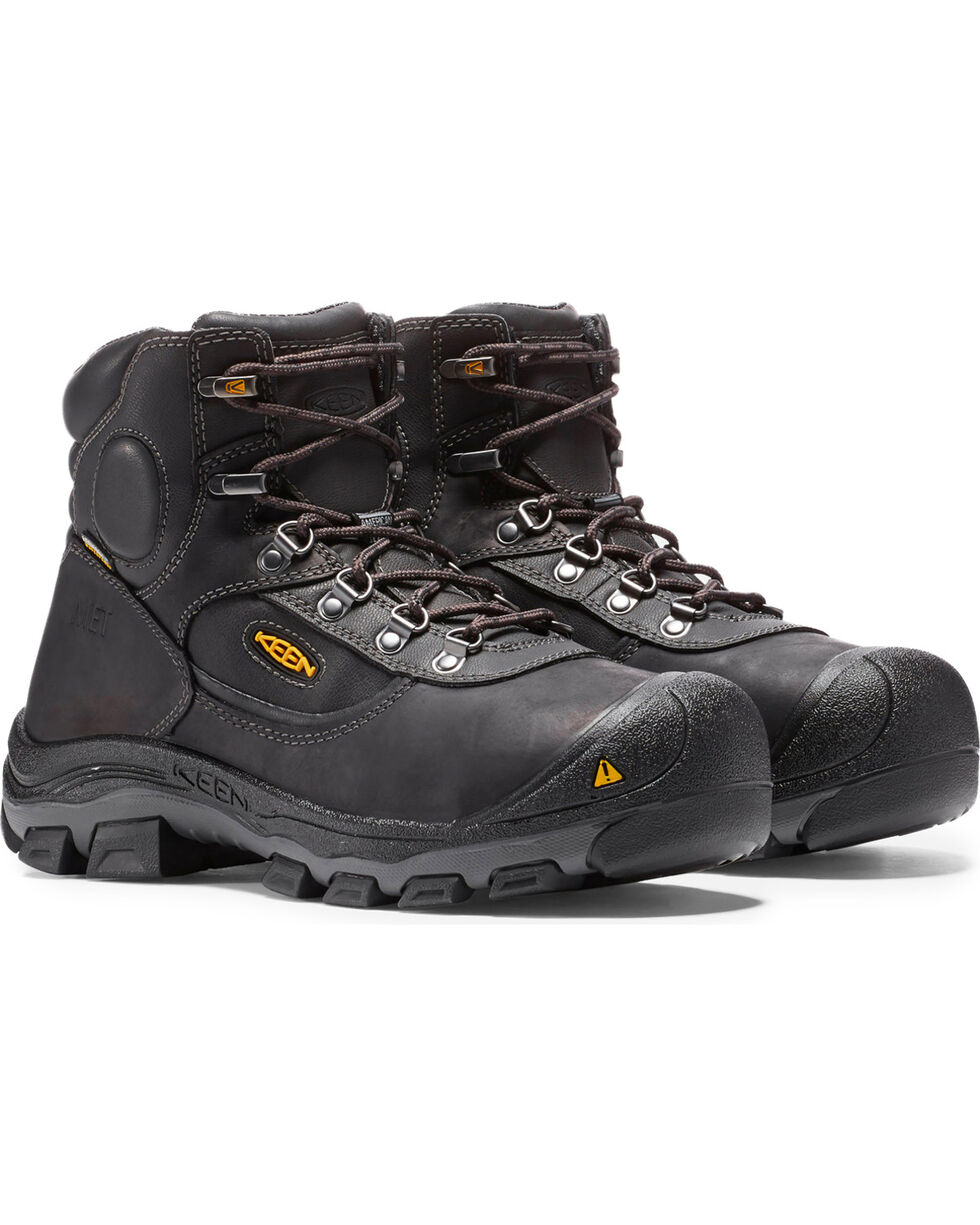 "Keen Men's Leavenworth Internal Met 6"" Boots - Steel Toe, Black, hi-res"
