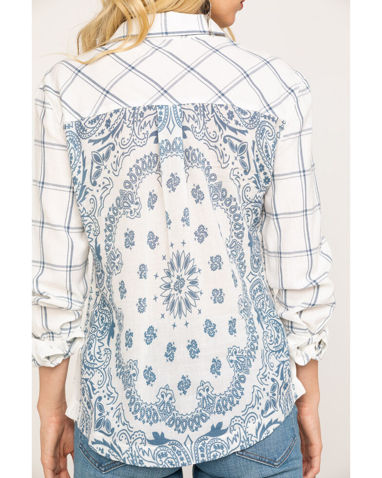 Idyllwind Women's Back to Bandanna Top, Blue, hi-res